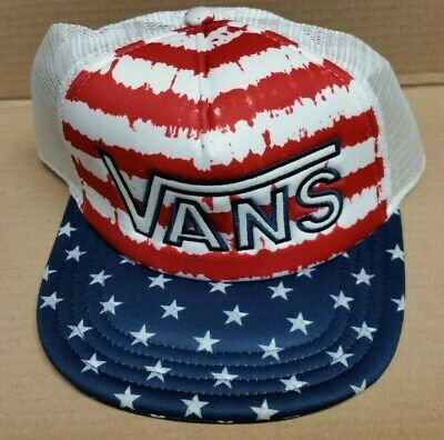 c162a6ae5c2 Vans Off The Wall Drop V Trucker Adjustable Hat USA Stars   Stripes NWT New