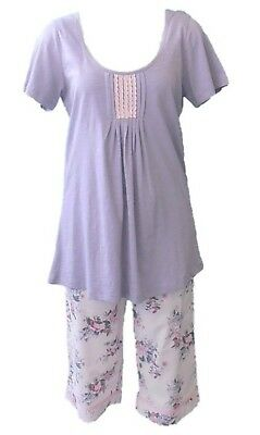 New Ladies Pure Cotton Pyjama Set in Pink/Lilac Size S/10 RRP $64.95