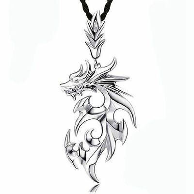 Silver Stainless Steel Dragon Pendant Men Necklace With Leather Chain Sell