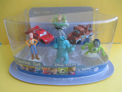 DISNEY PIXAR FIGURINE SET-*BUZZ,WOODY,SCULLY,MIKE,MATER & LIGHTNING McQUEEN* 3+