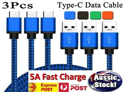 3x Samsung S8 S9+ Pixel 3 2 USB C Type-C to Type-C Fast Charger Cable Data Sync