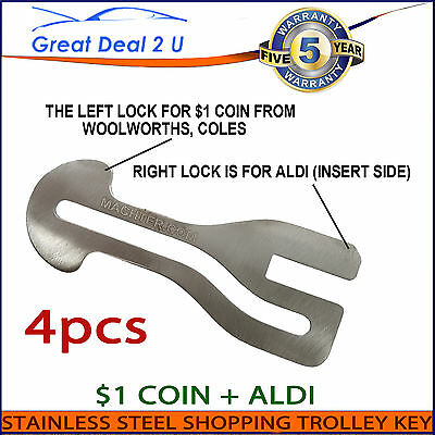 4PCS $1 Coin Removable Shopping Trolley Key Slot ALDI WOOLWORTHS COLES AU
