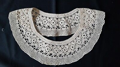 ANTIQUE Gorgeous Vintage VICTORIAN Handmade Crocheted Lace Collar 100% Cotton