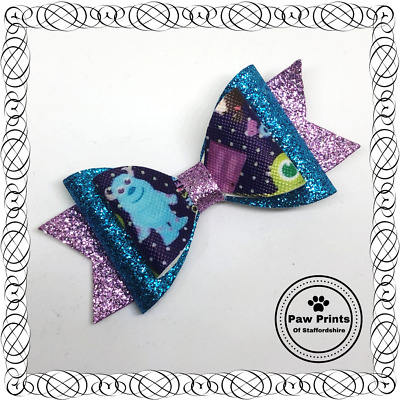 """Monsters Inc Glitter Hair Bow -  3.5"""" Clip Mike Sulley Boo Monsters University"""