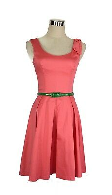 REVIEW Dress - 1950s Vintage Retro Style Watermelon Coral Dot Bow Pleated - 6/XS