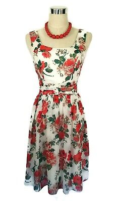 REVIEW Dress - 1950s Vintage Retro Style Floral Red Green White Roses Pleat - 6