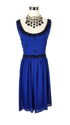 REVIEW Dress - 1950s Vintage Retro Style Beaded Blue Black Evening Cocktail 14/L