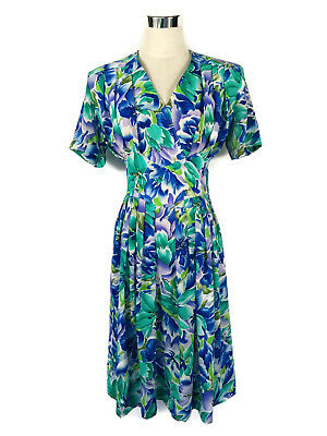 Vintage Dress - 1980s does 40s Retro Pleat Floral Blue Green Mauve White - 12/14