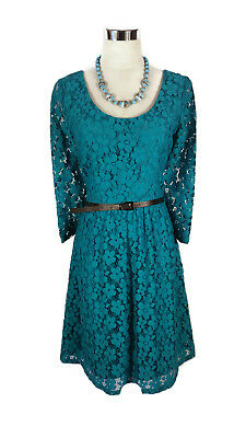 REVIEW Dress - 1950s/60s Vintage Retro Style Turquoise Blue Lace Scoop 3/4 - 10