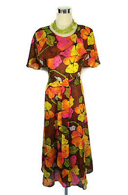 1970s Dress- Vintage Retro Floral Ruffle Boho Maxi Brown Pink Yellow Green 14/16