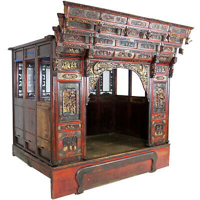 Antique Chinese Canopy Wedding Opium Bed Intricately Carved, Full Size