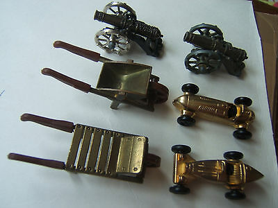 kinder lot  metaux  metal Brouette canon voiture gold