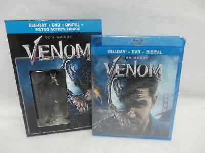 BRAND NEW! ~ Venom Blu-Ray + DVD + Digital + Retro Venom Action Figure Exclusive