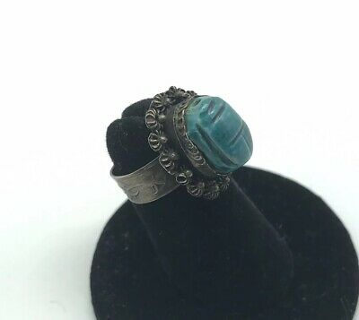 Vintage Scarab Poison Ring Sterling Silver Egyptian Revival Carved Stone Artisan