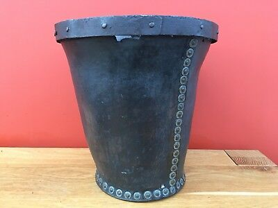 Early 19th Century Antique Leather and Iron Fire Bucket Circa. 1820