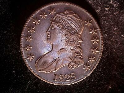 1828 Capped Bust half dollar, uncertified AU++, O-121, lettered edge