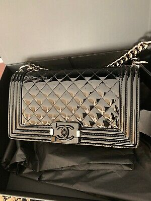 749fb1c46062 CHANEL BOY FLAP Bag Quilted Plexiglass Patent Old Medium - $4,040.00 ...