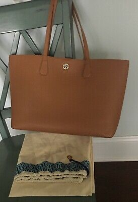 675ecb8b7fd TORY BURCH PERRY LEATHER TOTE - BARK EXTERIOR (brown tan)   GOLD INTERIOR -