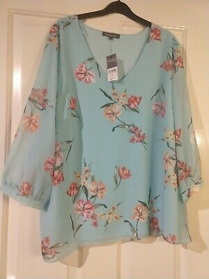 aab1add3988a BNWT BON MARCHE Ladies Top/Blouse - Size 22 Blue Floral 3/4 Sleeve ...