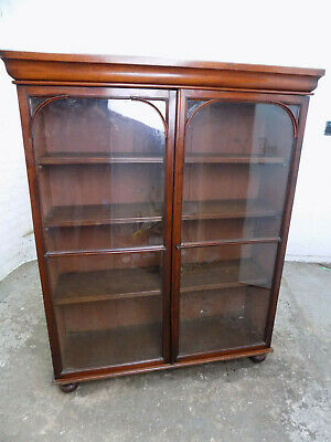 antique,victorian,mahogany,bookcase,glazed doors,adjustable,shelves,cornice,feet