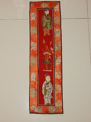 Antique Chinese Hand Embroidery Figurative Hanging Panel 19thC 66X19cm (X562)