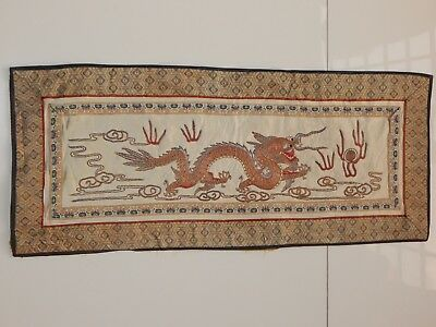 Antique Chinese Dragon Hand Embroidery Silk Wall Hanging Panel 62X26cm (X559)