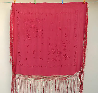 Antique Beautiful Chinese Hand Embroidered Silk Piano Shawl Ps75