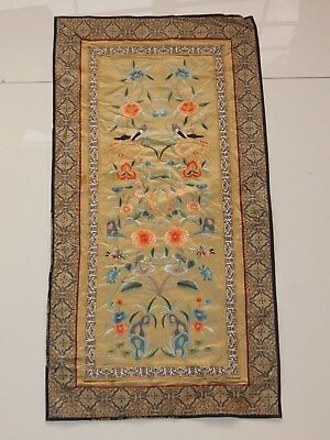 Antique Chinese Hand Embroidery Silk Wall Hanging Panel 66X33cm (X557)