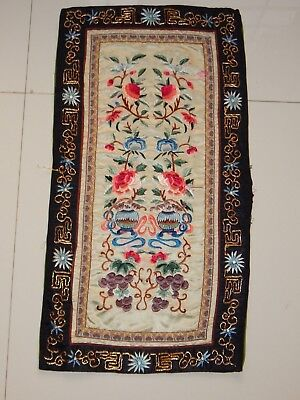 Antique Chinese Hand Embroidery Silk Wall Hanging Panel 62X32cm (X564)