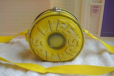 Lifesaver candy metal tin with strap in lemon yellow   5 inches