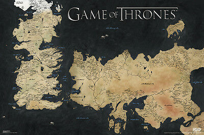 GAME OF THRONES MAP OF WESTEROS AND ESSOS 24x36 POSTER TV SERIES HBO DRAMA COOL!