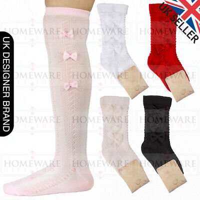 Girls Baby Bow Socks Spanish Knee High Bow Socks White Pink Ivory Red Black 0-6Y