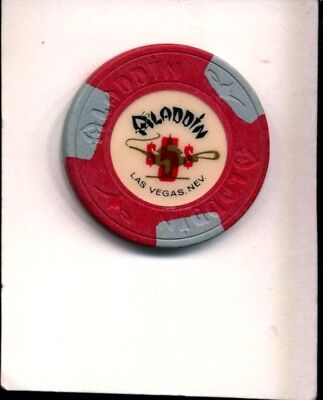 (31) Aladdin Casino Las Vegas NV  $5 house chip avg-good condition issued 1980's
