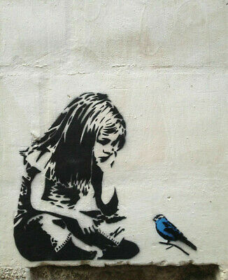 "Banksy graffiti art, Girl with Bluebird, Giclee Canvas Print, 12""x16"""