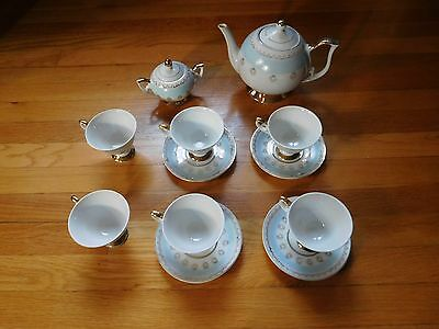 ROYAL PORZELAN RARE VINTAGE BLUE GOLD TEA SET (2 plates missing) Germany Antique
