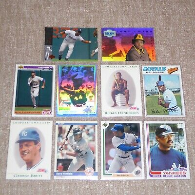 (10) 1977-94 Hall-Of-Fame Different Baseball Cards Aaron-Brett-Griffey+++ Mint