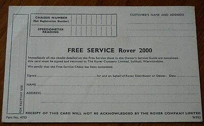 Original Rover P6 2000 1969 Service Card Blank Postcard Came with Service Book