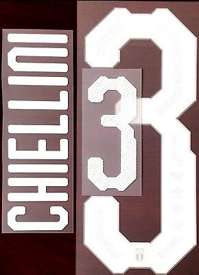 c8ed4bf4c85 Italy ITALIA Home Shirt 2018-19 CHIELLINI 3 Official Stilscreen Name Number  Set