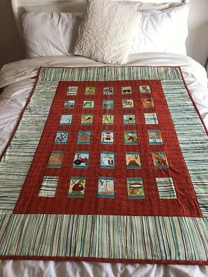 "Handmade Patchwork Quilts Little Boys ABC size 41"" x 53"""