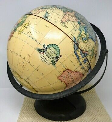 "Vintage Rand McNally Terrestrial 12"" World Globe Raised Topography Metal Base"