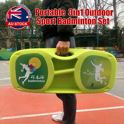 3 in 1 Portable Badminton Tennis Volleyball Net Set Outdoor Backyards Sports E