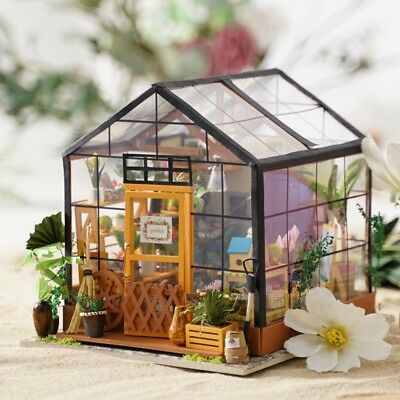 ROBOTIME Dollhouse Kit Miniature DIY Greeen House Kits to Build Birthday Gifts