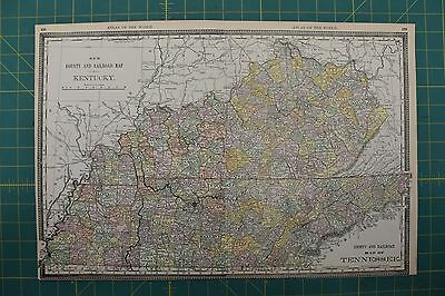 Kentucky Tennessee Vintage Original 1892 Rand McNally World Atlas Map Lot