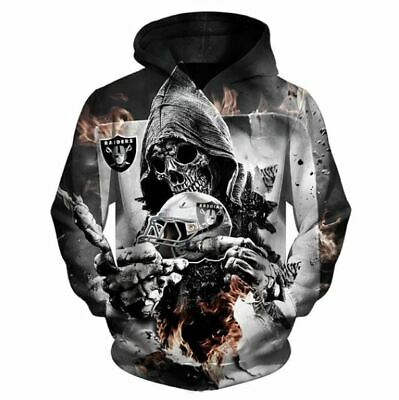 1e14e956 NFL FOOTBALL 3D Hoodies Print The Death Skull Oakland Raiders Sweatshirts