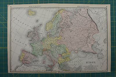 Europe Vintage Original 1892 Rand McNally World Atlas Map Lot