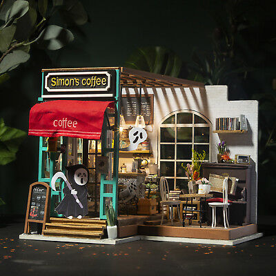 Robotime  DIY Dollhouse Kit Miniature Coffee House Kits Gift for Girlfriend Wife