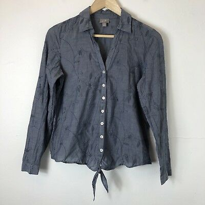 e70eabd78fb32a J. Jill Women s Blue Embroidered Button Front Tie-Up Long Sleeve Shirt Top  Sz