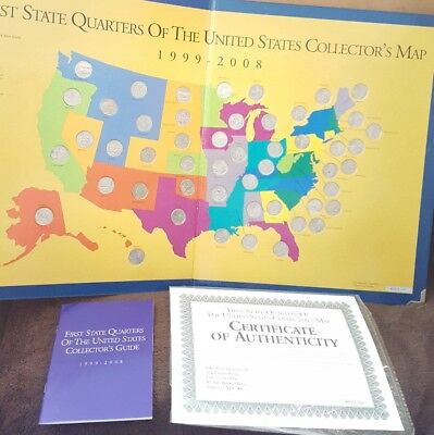 1999-2008 First State Quarters of the US Collector's Map Complete w/ COA 50 Coin