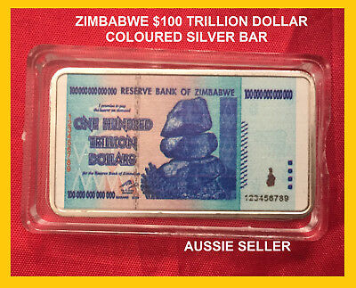 Zimbabwe 100 Trillion Dollars Note Coloured Silver Plated Ingot Bullion Bar