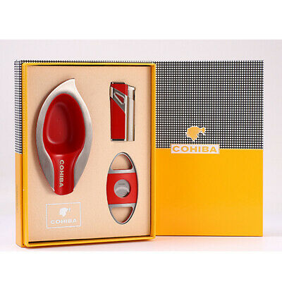 COHIBA Red Metal Cigar Lighter W/Punch 3 Torch Jet Flame Cutter Ashtray Set